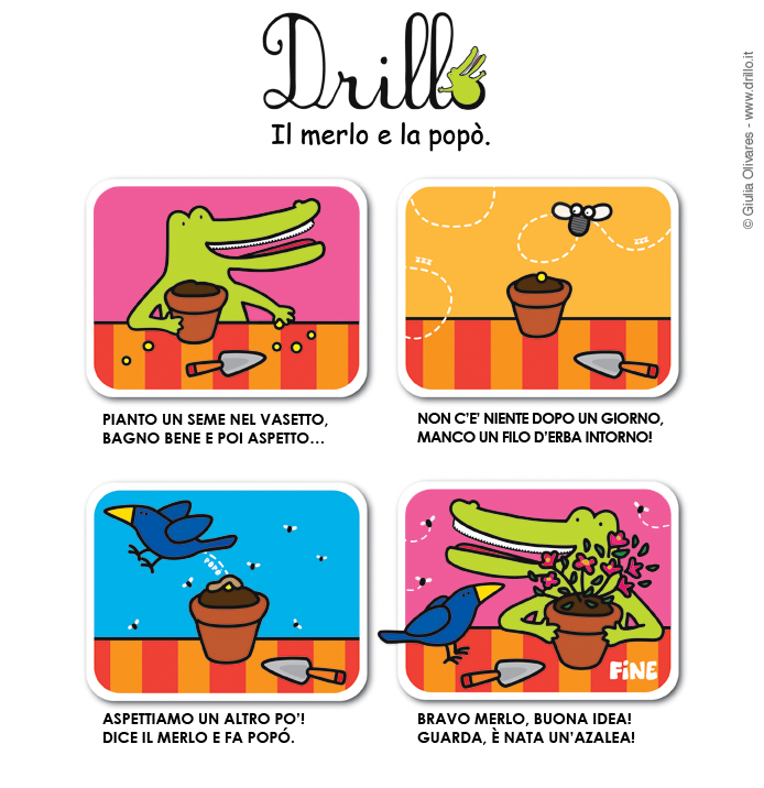 Il merlo e la pop da drillo bambini giochi disegni storie ricette - Giochi di baci in bagno ...